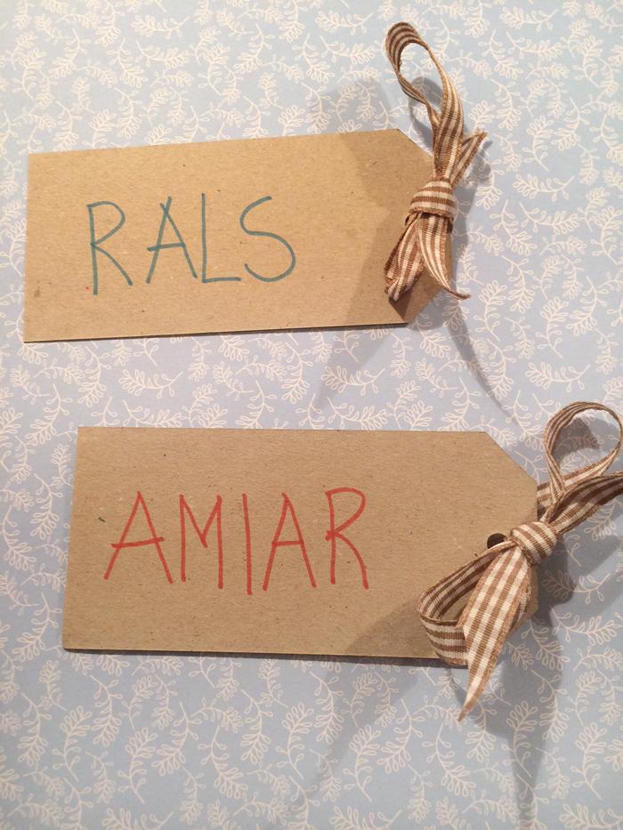 Her er bordkortene til Lars og Maria